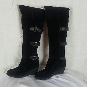 Cole Haan Nike Air Black Suede Wedge boots w. Fur